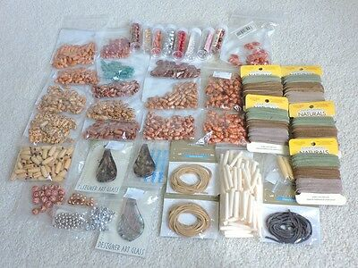 Lot of Over 1,300 Various Beads & Leather (Wood, Metal, Bone) Various Colors
