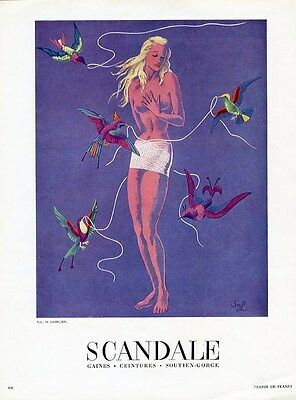 French SCANDALE Girdle Corset Ad 1950 - Blonde Woman and Bird's Weaving Corset