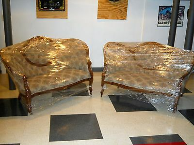 Vintage Victorian Pair of1800's Antique Carved Walnut Settee,Recent Upholstered