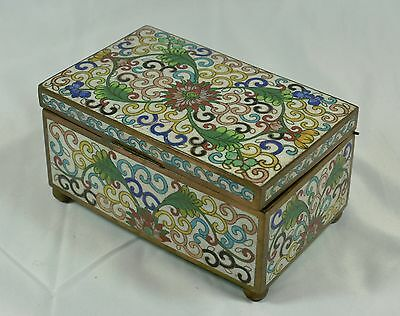 "Antique Chinese Cloisonne Trinket Box ~ marked ""CHINA"""