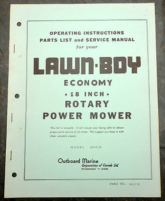1950's Lawn-Boy 8S10LB Canada Lawn Mower Owner's Manual Johnson Evinrude