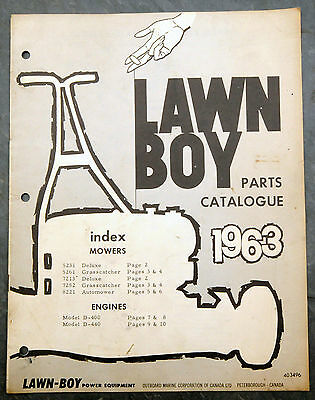 1963 Lawn-Boy Parts Catalogue Canada Lawn Mower Owner's Manual Johnson Evinrude