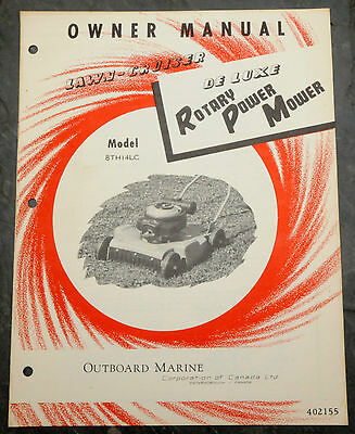 1950's Lawn-Cruiser 8TH14LC Canada Lawn Mower Owner's Manual Johnson Evinrude