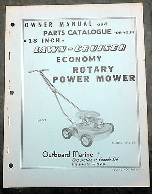 1957 Lawn-Cruiser 8S11LC Canada Lawn Mower Owner's Manual Johnson Evinrude