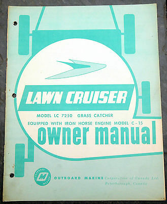 1960's Lawn-Cruiser LC 7250 Canada Lawn Mower Owner's Manual Johnson Evinrude
