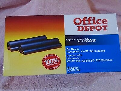New Office Depot PANASONIC Twin Pack Replacement Fax Ribbon