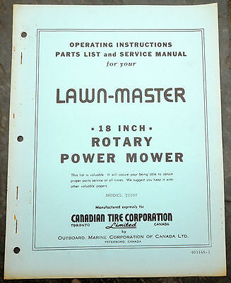 1950's CTC Canadian Tire Lawn-Master T1087 Lawn Mower Owner's Manual Canada Blue