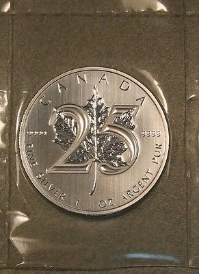 2013 1 oz Canadian Maple Leaf 25th Anniversary .9999 Silver Coin * Mint Sealed!