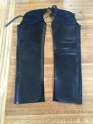 Mens Black Leather Motorcycle Chaps Made In Argentina