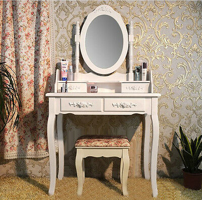 Brand New 4 Drawers Luxury Mirror Wooden Dressing Table & Stool Modern Design