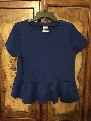 ELLE WOMEN'S Royal Blue TOP BLOUSE Short Sleeve SIZE M