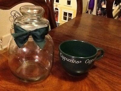 Glass Sweet/biscuit Jar & Cappuccino Cup