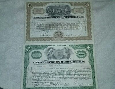 2 Old STOCK CERTIFICATES TOBACCO PRODUCTS CORPORATION, UNITED STORES CORPORATION
