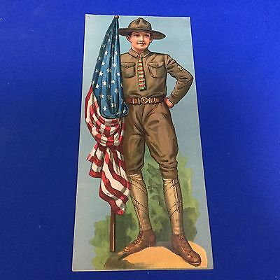 """Boy Scout Vintage Poster 5 1/2"""" X 12"""" Scout with U.S. Flag"""