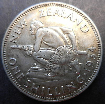 New Zealand 1934 KGV One Shilling Silver Coin XF Nice