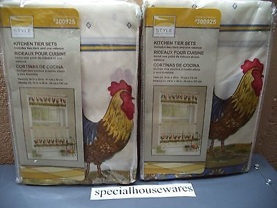 "2 Style Selections Rooster Kitchen Curtain Tier Sets Fit Up to 40""Window NIP"