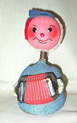 Vintage Paper Mache Pre WWII Acorrdion Playing Elf Candy Container Nodder/Bobble