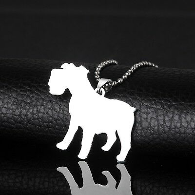 Stainless Steel Natural Ear Miniature Normal Schnauzer Pet Dog Tag Charm Pendant
