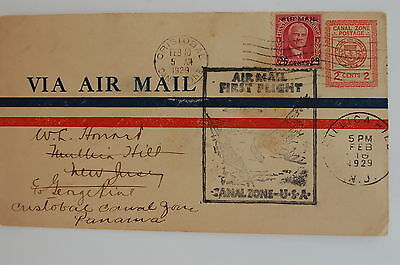 Canal Zone Cover Uc2 Lindbergh 1929 First Flight Black Cache