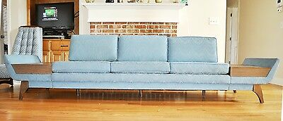 Adrian Pearsall Attributed Mid Century Modern Long Gondola Sofa Couch