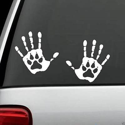 H1079 2X HAND PRINT DOG PAW DECALS STICKERS Car Truck SUV Laptop Surface Art