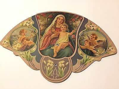 Vintage FUNERAL HOME Advertising Fan Mary Jesus Cherubs Angels Lillies Gorgeous