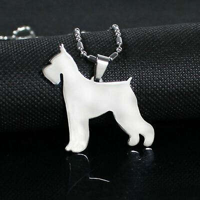 Stainless Steel Cropped Ear Giant Schnauzer Pet Dog Tag Charm Pendant Necklace