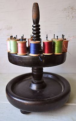 Antique Wooden Tiered Thread Spool Holder Caddy Victorian Sewing Spindles