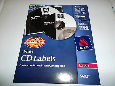 Avery Wht CD Labels for Laser Printer, 40 Disc Labels and 80 Spine Labels (5692)