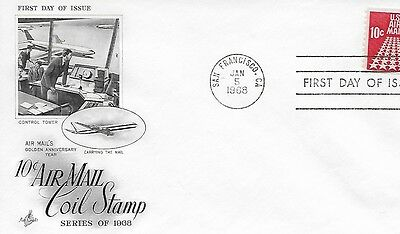 Scott #C73 - 1968 10 cent Airmail coil stamp FDC