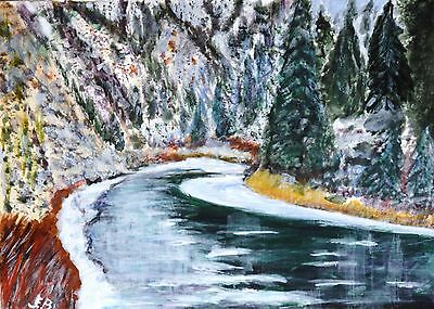 ACEO 'River Bend'  landscape. original acrylic by JEB