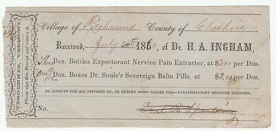 1860s receipt for Dr. H.A. Ingham nervine pain extractor & balm pills