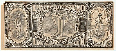 Late 1800s Old Patent Seam Boot fake-money advertising handout