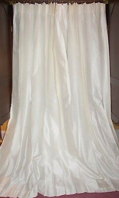 Vintage Paris Apt French Country Victorian Chic White Silk Drapes Curtains Pair