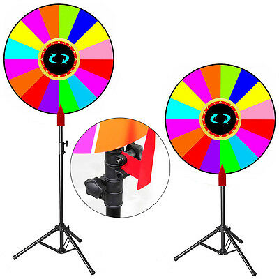 "Upgraded Editable 24"" Color Prize Wheel Fortune Spin Game Carnival Floor Stand"