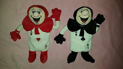 "LOT 2 Disney Store 8"" ALICE IN WONDERLAND Cards ACE Heart SPADES Black RED Plush"