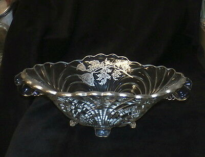 silver overlay crystal ciolor caprice footed druit bowl, no reserve