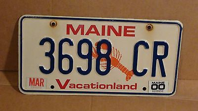 """2000 Maine """"Lobster/ Vacationland"""" License Plate (3698 CR)"""
