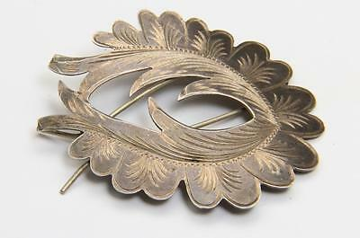 Vintage Joy Mex Sterling Silver Etched Design Hair Clip Barrette Pin Mexico