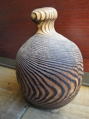 "Old Japanese Hand Carved Cryptomeria Wood Ikebana Vase 5.5""h"