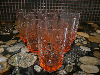 6 VINTAGE PINK GLASS TUMBLERS 8 OZ Scotch Whisky Glass
