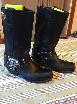 Harley Davidson Hd Square Toe Black Leather Motorcycle Biker Boots Woman 9