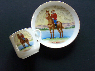 Collectible  Miniature Cup & Plate Hand Decorated  R.C.M.P. Canada Memorablia's