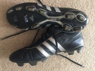 Adidas adipure black/silver leather soccer football footy boots US 8.5