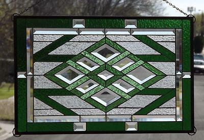 """• TRANQUIL GREEN •Beveled Stained Glass Window Panel • 27 3/4""""X17 3/4""""(71X45CM)"""