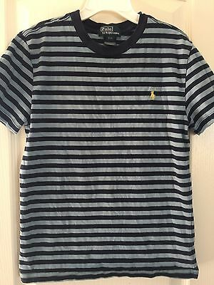 Youth Boys POLO RALPH LAUREN S/S Blue Stripe Shirt SZ Small 8
