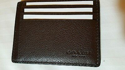 Coach Mens Mahogany Leather Credit Card/ID Card holder - NWT