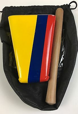 """Hand Held Cowbell 6-3/4"""" Painted Colors Of Colombia Flag With Pouch ES-4 VL."""