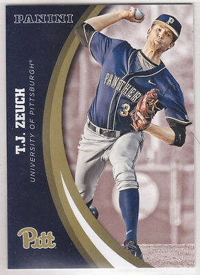 2016 Panini Univerisity Of Pittsburgh Panthers T.j. Zeuch #25