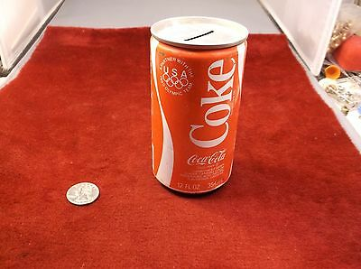 "Neat Vtg 1980 Coca-Cola Coke Tin-Can ""coin Bank"" - Partner With The Olympic Team"